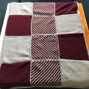 Handmade Maroon and Grey Crocheted Throw Blanket 120cm x 120cm